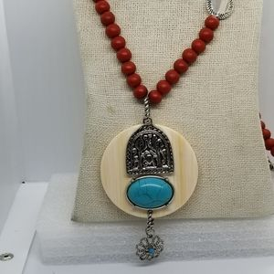 Chicos Red Wood Round Beaded STATEMENT Necklace